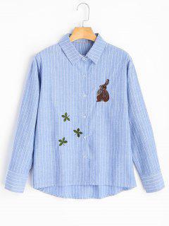 Chemise Brodée à Rayures - Bleu