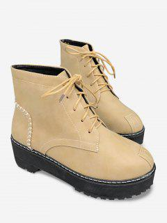 Tie Up Sewing Thread Retro Ankle Boots - Brown 36