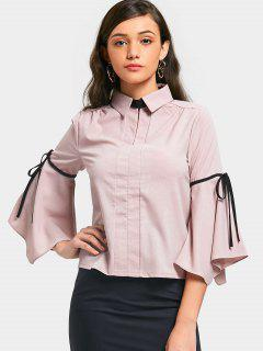 Flare Sleeve Bow Tied Shirt - Pink 2xl