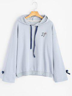 Embroidered Ribbon Bowknot Hoodie - Stone Blue