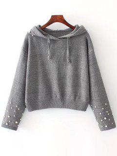 Beaded Hooded Sweater - Gray M