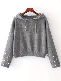 Pullover Mit Perlen Und Kapuzen  - Grau S