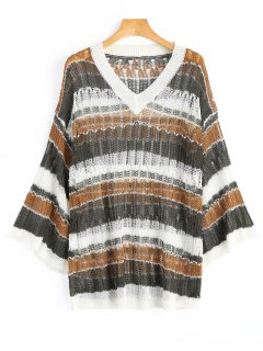 V-Ausschnitt Streifen Übergroßer Pullover