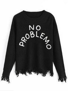 No Problemo Graphic Distressed Sweater - Black
