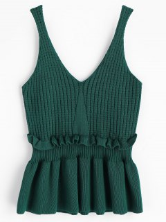 Frilled Sweater Vest - Blackish Green