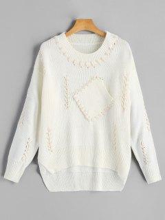 Strappy Pullover Mit Rundhalsausschnitt - Beige (weis)