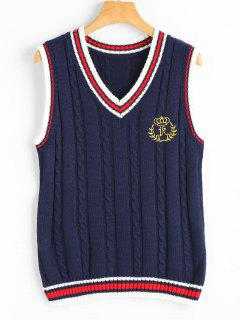 V Neck Patchwork Cable Knit Sweater Vest - Purplish Blue