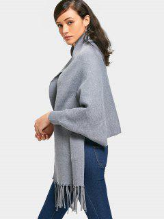 Cloak Cape Fringed Knit Cardigan - Gray