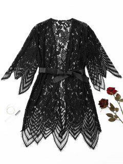 Scalloped Lace Night-robe - Black