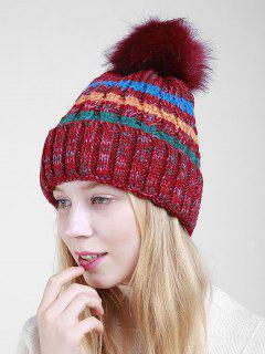 Fuzzy Ball Crochet Knitted Beanie - Red