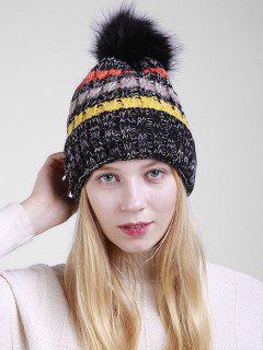 Fuzzy Ball Crochet Knitted Beanie - Black