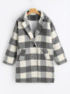 Lapel Checked Tweed Coat - Plaid
