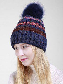 Fuzzy Ball Crochet Knitted Beanie - Cadetblue