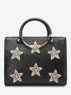 Round Ring Embroidery Stars Handbag - Black
