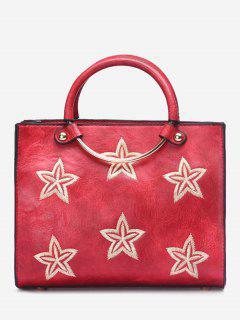 Bolso Redondo De Las Estrellas Del Bordado Del Anillo - Rojo