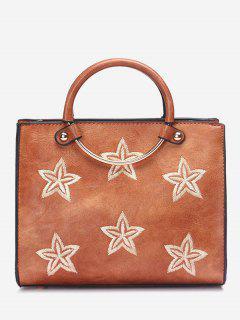 Round Ring Embroidery Stars Handbag - Brown