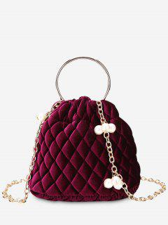 Stitching Quilted Faux Pearl Crossbody Bag - Red