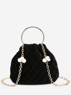 Stitching Quilted Faux Pearl Crossbody Bag - Black