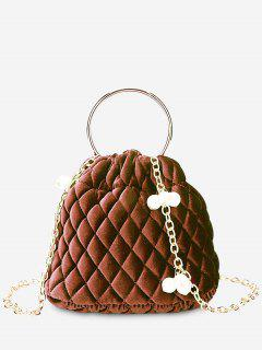 Stitching Quilted Faux Pearl Crossbody Bag - Brown