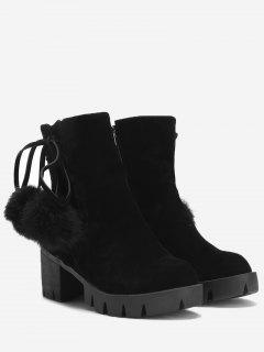 Platform Pompom Ankle Boots - Black 38