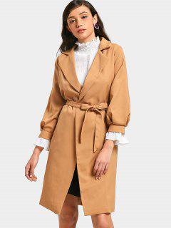 Long Sleeve Skirted Belted Trench Coat - Khaki L