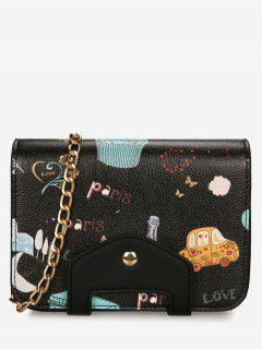 Print Patchwork Chain Crossbody Bag - Black