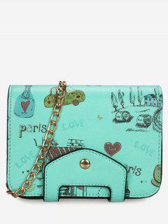 Print Patchwork Chain Crossbody Bag - Green