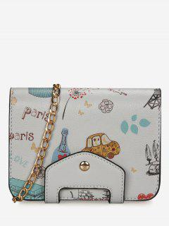 Print Patchwork Chain Crossbody Bag - Gray