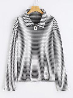 Half Zipper Striped Top - White And Black
