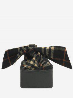 Box Shape Chain Bow Crossbody Bag - Black