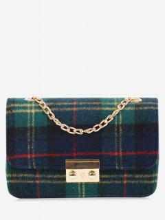 Chain Color Block Plaid Crossbody Bag - Green