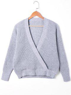 Plunging Neck Surplice Sweater - Gray S