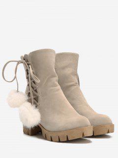 Platform Pompom Ankle Boots - Apricot 39