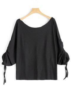 Scoop Neck Ruched Dolman Sleeve Blouse - Black S