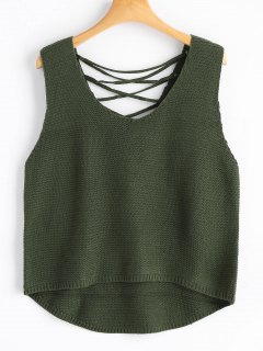 Lace-up Sweater Vest - Army Green