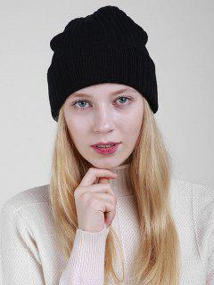 Plain Flanging Ribbed Knit Beanie - Black