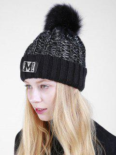 Fuzzy Ball Embellished Flanging Knit Beanie - Black