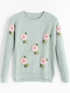 Beaded Flower Applique Crew Neck Sweater - Light Green