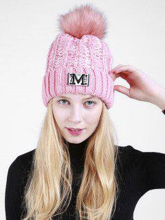 Fuzzy Ball Embellished Flanging Knit Beanie - Pink