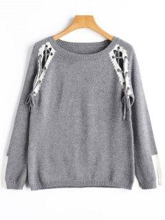 Pullover Mit Rundhalsausschnitt Und Schlitz-Schnürsenkel - Grau