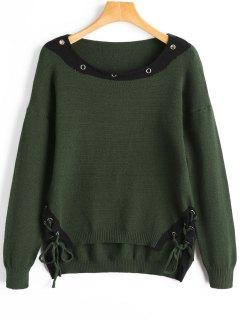 Beschnürter Schnür-Pullover - Bundeswehrgrün