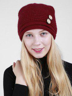 Wooden Button Decorated Slouchy Knit Beanie - Dark Red