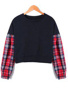 Drop Shoulder Tartan Panel Crop Sweatshirt - Black M