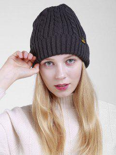 Label Pattern Thicken Flanging Knited Beanie - Deep Gray