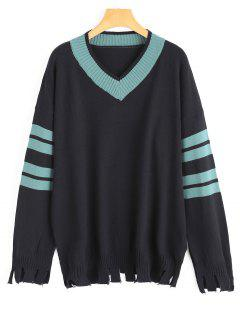 V Neck Cut Out Striped Knitted Top - Black