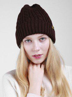 Label Pattern Thicken Flanging Knited Beanie - Coffee