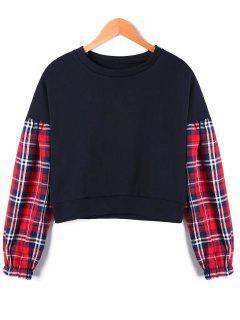Drop Shoulder Tartan Panel Crop Sweatshirt - Black Xl