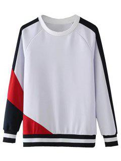 Sweatshirt Contrastant à Manches Raglan - Blanc L