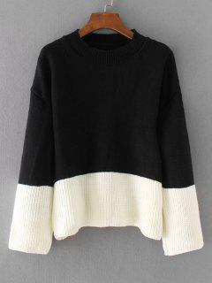 Oversized Two Tone Pullover Sweater - Black
