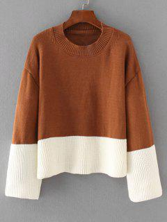 Oversized Two Tone Pullover Sweater - Light Coffee